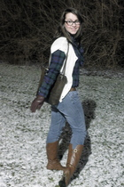 brown boots - brown purse - brown belt - American Living - white cardigan