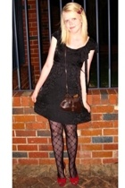 red from billie & rose shoes - black dress - black leona edminston tights