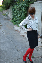 Collective Concepts blouse - kohls shirt - red tights Gap tights