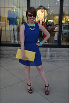blue ELeighs dress - yellow clutch Box Turtle purse - Anthropologie necklace