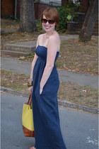 navy dejavu dress - mustard tote Forever 21 bag
