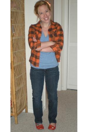 orange Gymboree blouse - blue American Apparel t-shirt - orange Nine West shoes