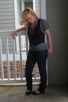 Mossimo blouse - Mossimo vest - Gap jeans - Jessica Simpson shoes