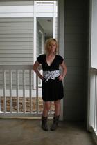 Forever21 dress - DIY belt - vintage boots