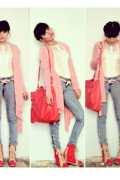 bubble gum bubble gum pink cardigan - heather gray gray jeans