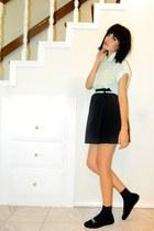 light blue collar blouse - black skirt - light blue skinny belt