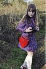 Saddle-shoes-60s-vintage-dress-heart-shaped-bag-knee-socks-socks