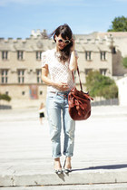 aquamarine Zara jeans - ivory pepa loves top