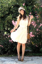 light pink hm dress - navy wedges Zara shoes - bubble gum scarf hm accessories