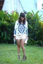 Jeffrey Campbell wedges - Chicwish shorts - Topshop sweatshirt