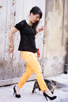 carrot orange Closed jeans - black ICODE top