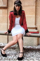 red Guess Jeans blazer - white H&M dress - black Melissa shoes