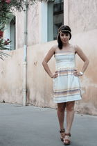 white sessun dress - brown Zara shoes - gold casio accessories