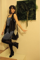 black Zara shoes - blue Guess Jeans dress - black Bizzbee vest