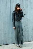 silver asos accessories - heather gray Zara skirt