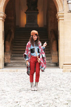 blue shirt Urban Outfitters shirt - ruby red poncho asos accessories