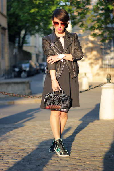 black the quiet riot dress - black H&M bag - chartreuse Reebok sneakers