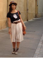 brown Ebay bag - blue Zara t-shirt - H&M dress