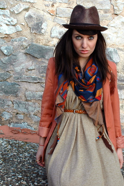 Zara dress - hm blazer - scarf Zara accessories