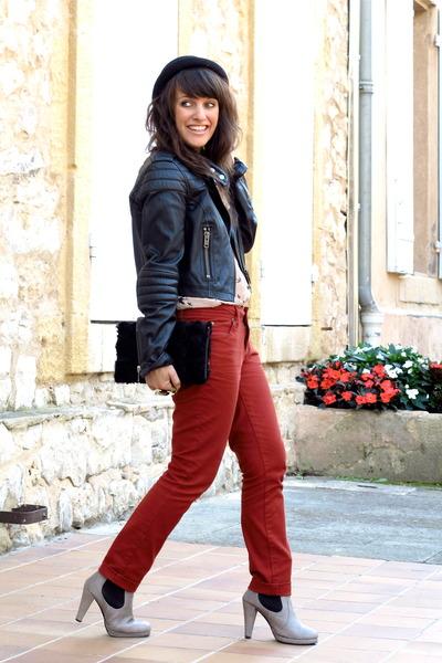 brick red Cache Cache pants - black hm jacket - black clutch hm accessories