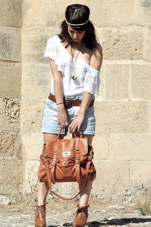 white H&M dress - brown H&M boots - brown Ebay bag