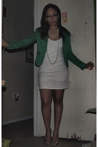 teal Forever 21 blazer - ivory dress
