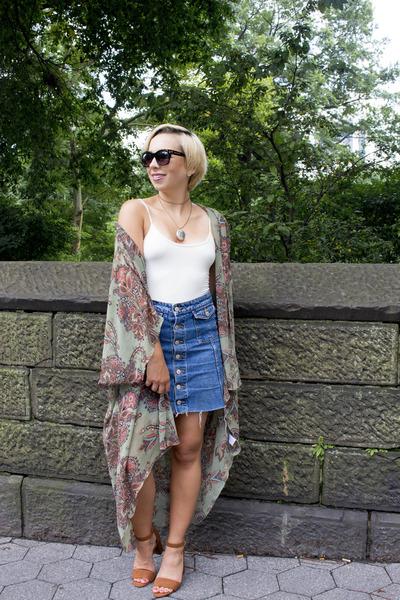 Zara shirt - Nordstrom Rack cape - Zara skirt - Old Navy wedges - Etsy necklace