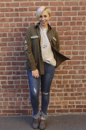 & other stories jacket - Foxs jeans - H&M sweater - Etsy necklace - DSW clogs