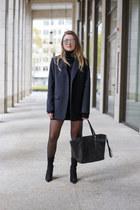 navy Zara blazer - black Kendall  Kylie boots - navy knit Zara dress