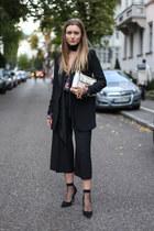 black fishnet asos socks - black Mango blazer - black H&M scarf