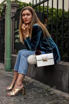 turquoise blue velvet Mango blazer - light blue mom jeans Miss Selfridge jeans