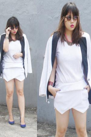 white Forever 21 blazer - white Zara shirt - white Zara shorts