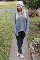 silver rhinestone Forever 21 necklace - heather gray beanie Urban Outfitters hat