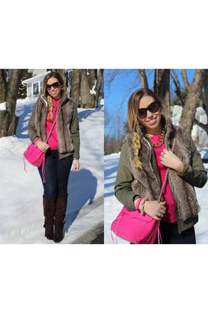 hot pink Zara blouse - navy skinny Gap jeans
