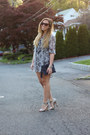 Heather-gray-chiffon-h-m-dress-navy-clutch-mark-bag