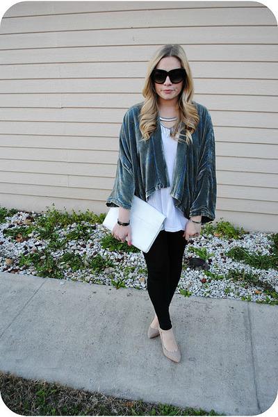 teal Zara cape - beige Zara shoes - black American Apparel leggings