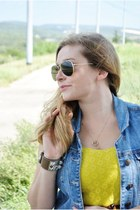 yellow Target dress - light blue Genetic Denim vest - camel Hermes bracelet