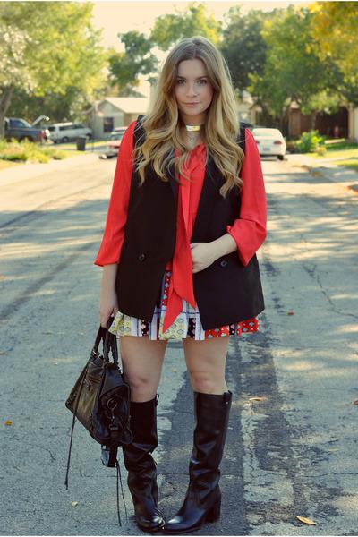 black bcbg max azria vest - red Forever 21 blouse