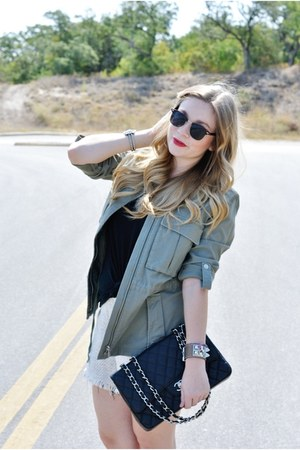 green Joie jacket - black Chanel bag - ivory free shorts