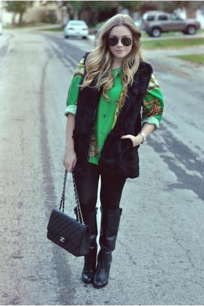 green scarf print vintage blouse - black Vince Camuto boots - black Chanel bag