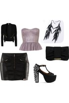 black zippers bank jacket - black clutch Dorothy Perkins bag