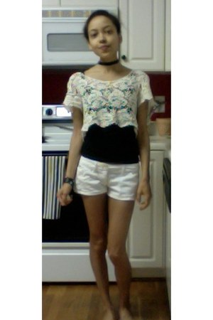 black cami unknown top - off white crochet LoveCulture top