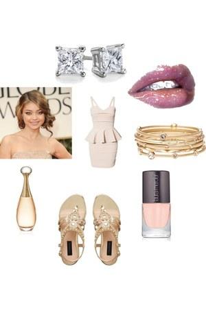 peach peplum bandage rare london dress - gold Witchery bracelet