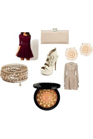 peach ALLANAH HILL coat - brick red Ebay dress - neutral clutch ted baker purse
