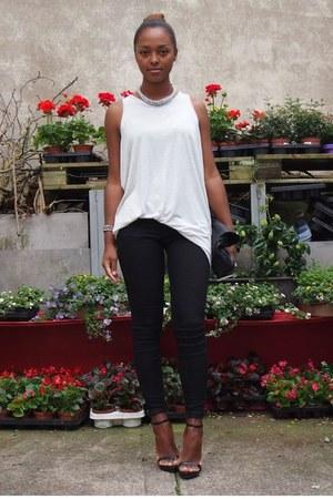 black Zara jeans - silver Zara shirt