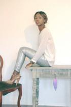 silver Zara pants - white Zara blouse - camel Mango sandals