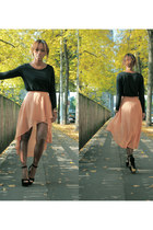black Steve Madden shoes - black Zara shirt - salmon Topshop skirt