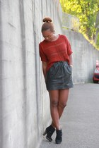 black Mango shoes - black no brand skirt - brick red River Island jumper