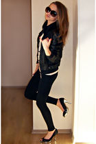black River Island jacket - black Zara leggings - pink Zara t-shirt