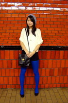 blue Forever 21 tights - heather gray knitted H&M Trend hat - black vintage bag
